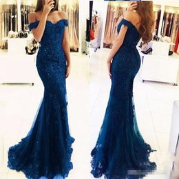 Discount prom dress cover jacket - Nave Blue Mermaid Prom Dresses Lace Beads Appliques Off The Shoulder Formal Evening Dresses Floor Length Custom Made Party Dress