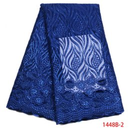 Wholesale Royal Blue Lace Trim - 3D Lace Fabric Applique Flowers Lace Trim Sequin Fabric Royal Blue lace fabric For African Nigerian French Women Dress QF1448B-1