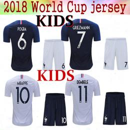 Wholesale Cups Sets - 2018 World Cup Kids jerseys GRIEZMANN Mbappe KANTE POGBA Soccer Sets 18 19 Maillot de foot de l'équipe nationale France kids kits Jersey