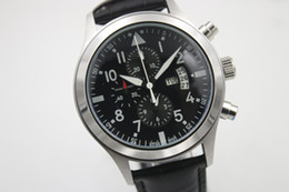 Wholesale Mechanical Pilots Watch - High Quality Luxury Men's Watch IW Pilot 377701 Series Black Multi-Function Dial with Calendar 40MM Black Leather Strap Automatic Mechanical
