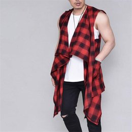 Wholesale Mens Plaid Vest - Mens Casual Plaids Vest Shirts Long Loose Leisure Red Black Plaid Tank Tops Sleeveless Tshirts Tees