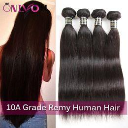 Черный пучок онлайн-Onlyou 10A класс 3/4 шт. сырье индийские девственные волосы прямые волны тела человеческих волос ткать пучки необработанные наращивание волос природа черный цвет