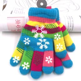 Wholesale colorful cotton gloves - Kids Thicken Knitted Finger Gloves Boy Girls Snow Print Colorful Gloves Winter