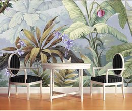 Wholesale tea sound - Tropical rainforest plant background wallpaper pastoral living room sofa television large mural fruit tea restaurant wallpaper