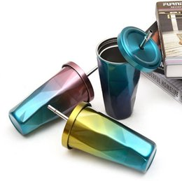 Wholesale Cartoon Drink Cup - 500ML Gradient diamond cup Stainless Steel coffee Mug Lid with straw Drinking Coffee Straw Cup Travel Coffee Mugs KKA4389