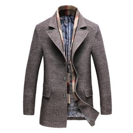 Männer wollkleidung online-2018 Herbst Winter neue Männer langen Wollmantel Business Casual Mode Männer Woolen schlanke Windjacke Marke Kleidung