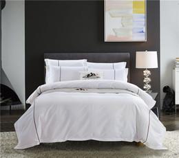 ropa de cama blanca pura Rebajas Venta al por mayor Pure White Luxury juego de cama de algodón Hotel King tamaño Queen sábana funda Duver edredón conjunto almohada cama