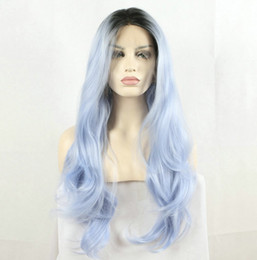 Wholesale Light Blue Lace Front Wig - Fantasy Beauty Fantasy Beauty Dark Root Ombre Pastel Blue Heat Resistant Fiber Hair Long Nature Wave Light Blue Synthetic Lace Front Wigs