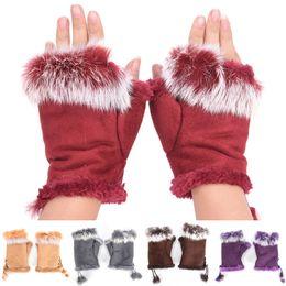 Wholesale White Leather Mittens - Women Warm Rabbit Fur Leather Lady Fingerless Suede Mittens Winter Warmer Wrist Gloves Female Gloves