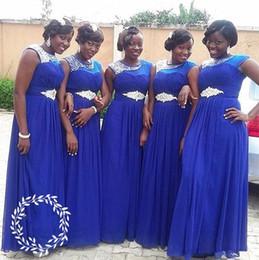 demoiselle d'honneur bleu royal robes cristal ceinture Promotion Robes de demoiselle d'honneur en mousseline de soie bleu royal plus la taille perles de bijou robe de bal africaine robe de mariée en cristal robe de mariée plis demoiselle d'honneur robe