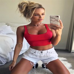 Wholesale One Piece Ladies Clothes - Trendy Women clothes sleeveless V-neck solid Top Ladies Bodycon Vest pullover casual Polyester Crop Tops one pieces