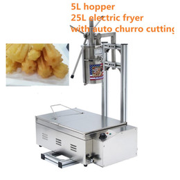 Wholesale Deep Fryer Electric - (3 in 1) 5L Manual 3 Solid Holes Churros Maker Machine with Cutter + Working Stand + 25L 220v Electric Deep Fryer