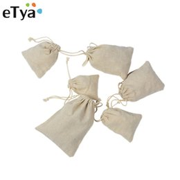Wholesale Small Cotton Drawstring Pouches - eTya Fashion Handmade Drawstring Bag Travel Drawstring Pouch Dry Cotton Linen Small Cloth Bag Storage Package Christmas Gift