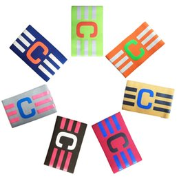 Wholesale Football Accessories - Professional football armband soccer armband C standard Flexible Sports Adjustable Player Bands Fluorescent Captain Armband