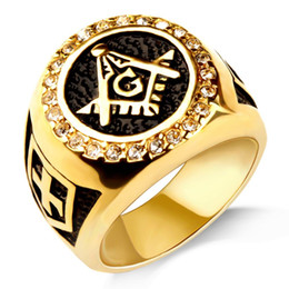 Freie maurerringe online-Free Mason Ring Gold Farbe Alten Edelstahl Ring Klassische Band Ring Für Mann 8 9 10 11 12 13