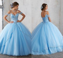2019 verde azeitona bola vestidos Luz céu azul vestido de baile quinceanera vestidos mangas espaguete beading cristal princesa vestidos de festa de formatura para o doce 16 meninas