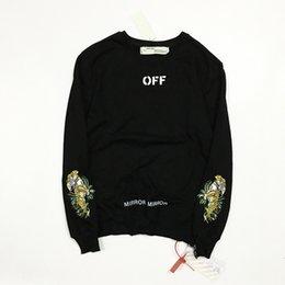 Wholesale Good Coat Brands - OF Brand Black Sweatshirts Men Wome Tiger Embroidery Sweatshirt Men Women Couple Top Coats Fashion Hip Hop Good Quality HFLSWY057