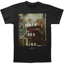 linha de caminhada Desconto Caminhada dos homens Johnny Cash The Line Retrato T Shirt Preto