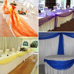 Ясные фоны онлайн-Экологичный 10м * 1 .35m персиковый цвет Sheer Swag Diy органзы Swag Ткань для свадьбы украшения, фон занавес и украшение стола