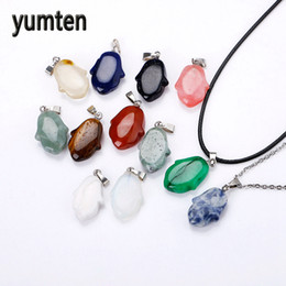 Камень колье онлайн-Yumten Fashion Natural Stone Pendants Crystal Amethyst Quartz Agate Small 12 Pcs Small Angel Charm Necklace Jewelry Making Agate