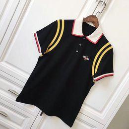 Wholesale Panel Shirt - Brand 2018 Mens T Shirt Fashion Stripe splicing Designer Bee lapel Short Sleeve Cotton POLO T Shirt Homme Fitness Asian Size