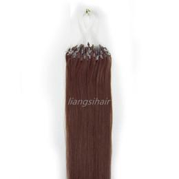 "Wholesale auburn micro loop hair extensions - Brazilian Hair Bundles 16""-26"" 100s 33# Medium Auburn Loop Micro Ring Hair Extensions Straight Peruvian Indian Malaysian Human Hair"