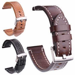 Wholesale Wholesale Leather Belt Straps - Smooth Genuine Leather Watch Band Strap 18 20 22 24mm Black Dark Brown Vintage Watchbands Belt Silver Black Buckle
