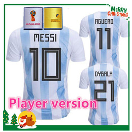 Wholesale Argentina Messi Jersey - Player version 2018 Argentina Soccer Jersey Argentina MESSI DYBALA DI MARIA AGUERO HIGUAIN soccer shirt home blue white Football uniforms