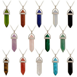 aventurine pendants Coupons - Factory Price Natural Necklace Healing Natural Stone Turquoise Green Aventurine Quartz Stone Lava Rock Pendant Silver Crystal Necklaces Gift