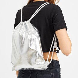 leather bags dropshipping Coupons - Women Men Drawstring Bag Solid Silver Fashion Backpack Leather Lady String Tote Girls Boys Travel Storage Package Dropshipping