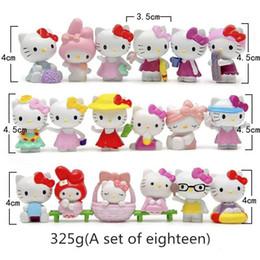 Kt spielzeug online-Neue Ankunft 18 Typ KT Katze Actionfiguren Nette Karikatur Figuren PVC Seaside Beach Spielzeug eine Reihe von achtzehn Anhänger