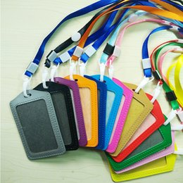 Wholesale Badge Leather - wholesale Bank Credit Card Holders women men PU Leather Neck Strap Card Bus ID holders candy colors Identity badge with lanyard