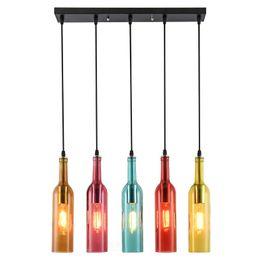 Ul bar on-line-Lâmpada LED Lâmpada de E27 do vintage Colorido Vinho Tinto Garrafa De Vidro Luz de Teto Restaurante Cafe Bar Hotel Garrafa De Vinho Lâmpadas Penduradas