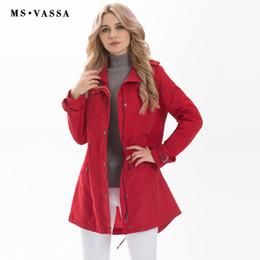 Wholesale Front Row - Wholesale- MS VASSA New Women fashion Trench coat ladies long casual coat plus size 5XL 7XL turn-down collar happy size row button border