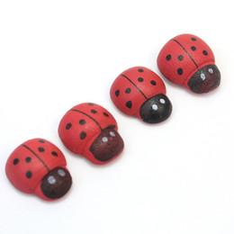Wholesale Vinyl Tile Adhesive - decorative decorative 100pcs Bag Cute Wooden Wood Ladybug Ladybird Sticker Self Adhesive Back Home Indoor Plant Fridge DIY Decorations