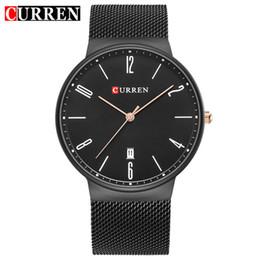 Модные черные люди онлайн-Curren Watches Men  Stainless Steel Mesh Strap Date Analog Quartz Mens Watch Fashion Sport Clock Black Wrist Watches