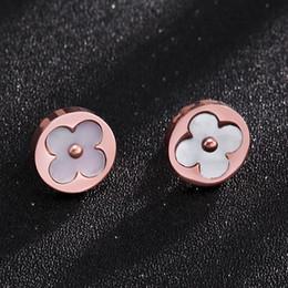 Canada Classique Femmes Blanc Shell Boucles D'oreilles Fleur Or Rose Plaqué Acier Inoxydable Boucles D'oreilles Meilleurs Cadeaux Pour Fille Ami Anniversaire D'anniversaire Offre