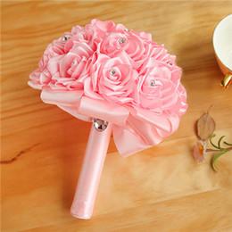 2019 fiori per bouquets Red Wedding Bouquet da sposa Accessori da sposa colorati Artificial Bridesmaid Flower Perle Perline Sposa Holding Fiori CPA1589 fiori per bouquets economici