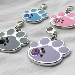 Wholesale paw pet tags - 100pcs lot 4 colors Paw Pet Dog ID Tags Zinc Alloy drip processed Pet Bone Tags