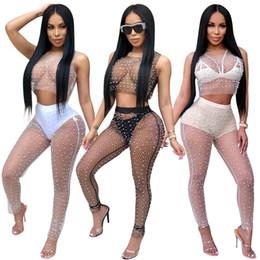 Colete longo das mulheres on-line-Sexy 2 Piece Set Mulheres Two Piece top e calça 3 cores Calças F0035 Vest longas com pérolas completa