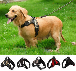 Collares de lona para perros online-Ajustable Dog Harness Chaleco Collar Canvas Big Dog Rope Collar Hand Correa Pet Traction Rope For Large Dog
