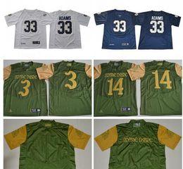 Camiseta de fútbol joe montana online-Notre Dame Fighting irlandés Josh Adams Jersey NCAA # 3 Joe Montana 14 DeShone Kizer Shamrock Series Premier camisetas de fútbol universitario