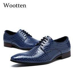 size adult shoes Promo Codes - plus size men dress shoes adult crocodile pointed toe wedding fashion office social elegant business formal shoes men #1779