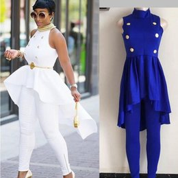 Wholesale Big Top Promotions - 2018 spring summer New fashion African women outfit suits big promotion button ruffles tops pant set 2 pieces suit vetsidos dress