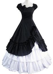 2019 traje de vestido curto victoriano Atacado-preto branco mangas curtas lado babados de algodão vitoriano lolita dress traje cosplay desconto traje de vestido curto victoriano