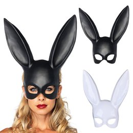 Wholesale Carnival Rabbit Costumes - 1Pc Masquerade Rabbit Mask Sexy Bondage Bunny Long Ears Carnival Halloween Costume Party Gift For Halloween Party Women Girls