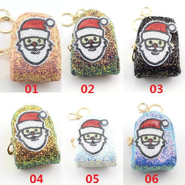 Porta-jóias bonito on-line-Natal Papai Noel Projeto Lantejoula Coin Bolsas Meninas Senhoras Carteiras Crianças Crianças Bonito Bolsa Titular do Cartão de Presente de Natal