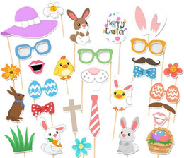 Wholesale Family Holiday Party - Easter Bunny DIY POP Masks Easter Holiday Party Photo decoration Family Easter party Deco Funny toys