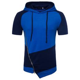 Wholesale Basic T Shirt Men - New Summer Men T-shirt Streetwear Unregular Zipper Design Hip Hop Hooded Shirt High Street Style Mens Basic Tee M-2XL