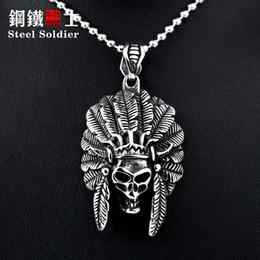 Wholesale Chief Skull - whole saleSteel soldier stainless steel men Tribal chief skull ring punk personality high quality skull jewelry